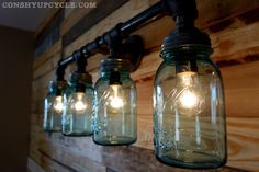 Four Ball Mason Jar Wall Sconce Light Black Iron by ConshyUpcycle Industrial Farmhouse, Industrial Style, Farmhouse Decor, Mason Jar Wall Sconce, Mason Jar Lamp, Wall Sconce Lighting, Wall Sconces, Ball Mason Jars, Lighted Wine Bottles