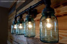 1923 1933 Four Ball Mason Jar Wall Sconce Light by ConshyUpcycle