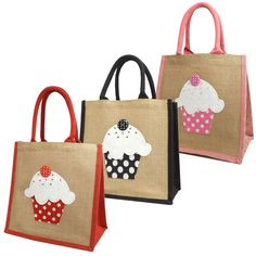 Jute Hessian Medium Shopping Bag - Cupcake Design