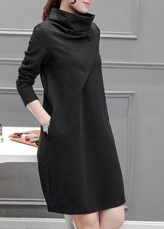 FloryDay / Solid Long Sleeve Knee-Length A-line Dress Skirt Outfits, Dress Skirt, Women's Fashion Dresses, Casual Dresses, Dresses Dresses, Hijab Fashion, Formal Dresses, Knee Length Dresses, Dresses With Sleeves
