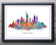 New York Skyline Watercolor Art Poster Print  Wall by GenefyPrints~ One of three prints that would go so well in Christian's room (NY, Paris, and London- three cities he will have visited with you) - Also that's a really nice way to incorporate purple, his fav color.