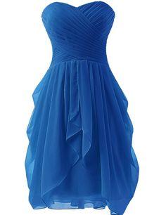 Dress U Womens Ruched Bridesmaid Dress Short Prom Dresses at Amazon Women's Clothing store: