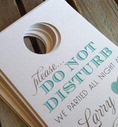 HOSPITALITY BAGS: Etsy-JonesStreetPrett- Wedding Door Hangers, Do Not Disturb/Welcome
