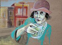 "Day Drinking (Gin Rickey) 15""x20"" acrylic on board"