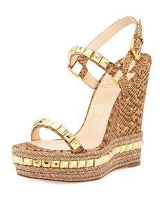 CHRISTIAN LOUBOUTIN Cataclou Studded Cork Wedge Sandal, Gold. #christianlouboutin #shoes #