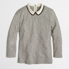 NWOT J. Crew Three-Quarter Sleeve Peter Pan Collar This is a classic 100% cotton J. Crew top in XS with a darling Peter Pan collar and back zip detail!  Never worn, only tried on and purchased -- wanted it to work for me, but it just doesn't.  The material is like a thin sweater, very comfortable and machine washable.  From a smoke-free home, no trades!  J. Crew Tops Tees - Long Sleeve