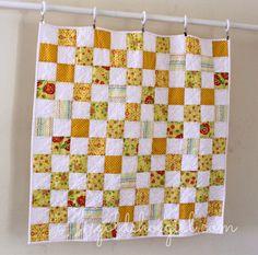 Sunshine Yellow Baby Girl Quilt Checkerboard quilt