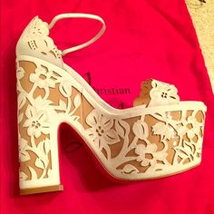 Louboutin Platform/Wedge Women's Shoes Brand new, in the box, Christian Louboutin Houghton May 160 Suede Wedges in White. Size 36 EU/Size 6 US. Christian Louboutin Shoes Platforms