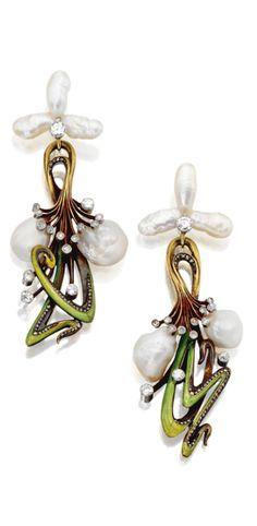 Art Nouveau pearl and enamel pendant-earrings, circa 1900.
