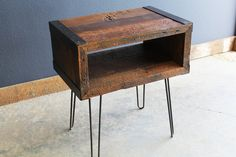 Custom Industrial media console tv stand from salvaged barnwood with hairpin legs