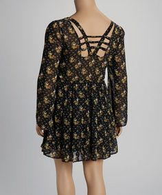 Another great find on #zulily! Black & Yellow Floral Crisscross-Back Dress - Plus by Mine Too #zulilyfinds
