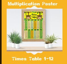 Multiplication Poster / and Chart Monkey/ Maths Times Tables, Children Kids Educational Learning Wall Chart Poster Art Print, Monkey Times Tables Flash Cards, Times Tables Test, Maths Times Tables, Times Tables Worksheets, Multiplication Games For Kids, Multiplication Tables, Art Wall Kids, Art For Kids, Wall Art