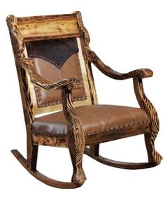 Western Style Rocking Chair With Embossed Yoke Insert On Seat Back |  Western And Rustic Furniture