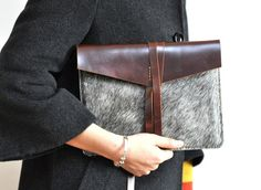 Leather iPad MINI case/holster /cover/ in brown -natural colour(horsehide with hair)