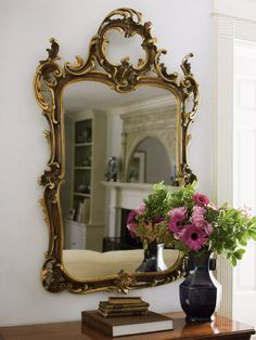 18th century Tuscan style carved wood mirror