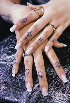 How many tattoos would you get on fingers?⠀⠀⠀⠀⠀⠀⠀⠀⠀ 👉🏻 Tiny tattoo inc⠀⠀⠀⠀⠀⠀⠀⠀⠀ 👉🏻 Tiny tattoo inc⠀⠀⠀⠀⠀⠀⠀⠀⠀ .⠀⠀⠀⠀⠀⠀⠀⠀⠀ How many tattoos would you get on finge Hand And Finger Tattoos, Finger Tattoo For Women, Small Finger Tattoos, Tiny Tattoos For Girls, Finger Tattoo Designs, Hand Tattoos For Women, Finger Tats, Tattoo Designs For Women, Hand Tats