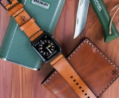 Customize your technologically sound Apple Watch with something traditional like this Apple Watch Leather Strap by Bexar Goods Co.