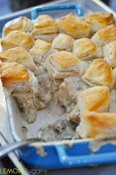 This quick and easy recipe for Biscuits and Gravy Casserole uses a no-fail gravy recipe and convenient store-bought biscuits for an easy breakfast!