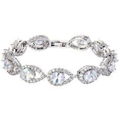 EVER FAITH® Silver-Tone Full Cubic Zirconia Hollow-out Tear Drop Wedding Roman Tennis Bracelet Clear -- Additional info @ http://www.amazon.com/gp/product/B01DLV4IR0/?tag=finejewelry4u.com-20&pkl=200716085804