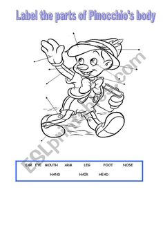 Label the parts of Pinocchio´s body. Once finished, you can also use the worksheet to do a colour dictation. Worksheet Generator, Worksheet Maker, Phonics Worksheets, Reading Worksheets, Vocabulary Games, Grammar And Vocabulary, Teaching Kids, Kids Learning, English Lessons For Kids