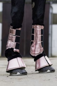 HKM Metallic Faux Fur Dressage Flatwork Brushing Protection Boots
