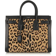 Saint Laurent Sac De Jour leopard-print calf hair and leather tote ($1,855) ❤ liked on Polyvore featuring bags, handbags, tote bags, animal print, handbags totes, genuine leather tote, leopard print tote, leather tote bags and leopard print tote bag