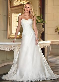 GRACEFUL SATIN SWEETHEART NECKLINE NATURAL WAISTLINE A-LINE WEDDING DRESS SEXY LADY LACE FORMAL PROM BRIDESSMAID