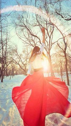 Sunshine Snowy Field Happy Gir Back #iPhone #6 #plus  #wallpaper