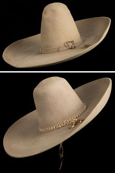 Pair of Large Silverbelly Mexican Sombreros a) Heavy beaver Mexican hat with a 7 brim, crown. Cowboy Gear, Cowboy And Cowgirl, Cowboy Hats, Cowboy Spurs, Mexican Sombrero Hat, Mexican Hat, Poncho Mexican, Wide Brimmed Hats, Western Hats