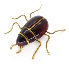 Vintage Art Deco Red Lucite Jelly Bug Brooch | Clarice Jewellery