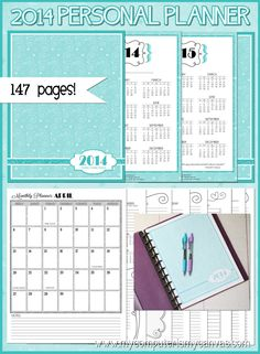Printable 2014 Personal Monthly/Weekly Planner... awesome planning pages and spreads! #mycomputerismycanvas