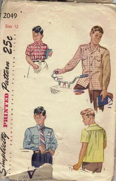 Simplicity Vintage Sewing Pattern 1940s 50s Flannel Retro Boy's Men's Shirt Hipster Swagger. $11.00, via Etsy.