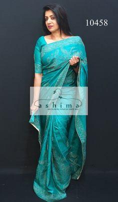 Tussar Silk Saree with Kantha work Saree Wearing Styles, Saree Styles, Saree Blouse Patterns, Saree Blouse Designs, Fancy Sarees, Party Wear Sarees, Desi Wedding Dresses, Churidar Designs, Tussar Silk Saree
