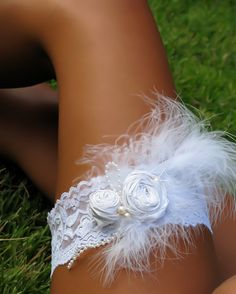 Ooh~la~la!! Marabou Feather Wedding Garter by Saint Townsend. So Chic!!!