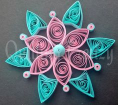 simple quilled kolam in pink and blue