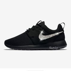 b0bc99ba631e Custom Bling Womens Nike Roshe One Black Swarovski Crystal Bling Sneakers
