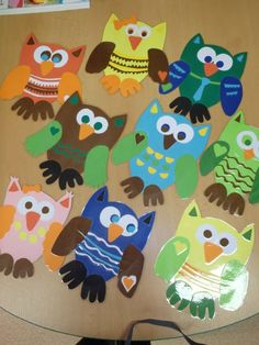 Maybe he ave the kids trace their hands and feet and use them as the owl's feet and wings