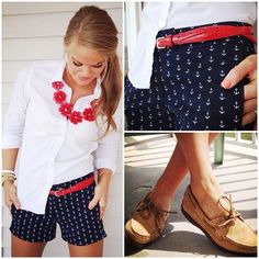Boat shoes + printed shorts + button-down + statement necklace