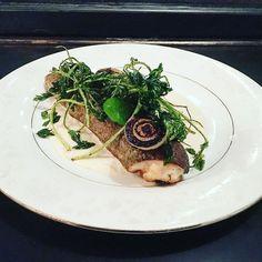 Trout parsley root purée Fried parsley parsley emulsion Burnt onion. # #chefstalk #nycfoodie #nyc #portlandkid #plow #eat #eatz #marketfood #farm #table #panda #instafood by rtd3