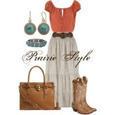 Prairie Style -- This is my style for sure. Broomstick style skirt, peasant top, cowboy boots, and turquoise jewelry...