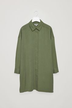 COS image 7 of Shirt tunic dress in Khaki Green