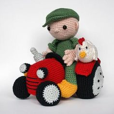 Farmer and tractor amigurumi pattern by Christel Krukkert