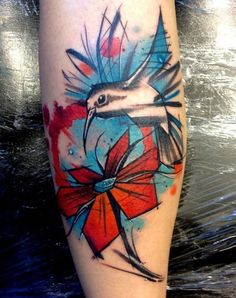 Beautiful Flower And Colibri Tattoo On Forearm