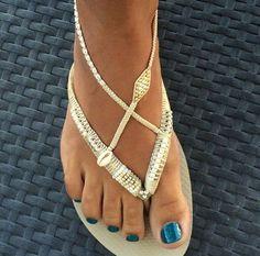 Silver & Gold Flip Flop, Foot Jewelry, Gold Flats, Boho Wedding Shoes, Gold Havaianas, Wedding Flip Flops, Boho Sandals, Anklet Sandals