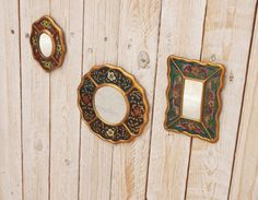 Free Soul Mirror Set  Vintage 1960s Handpainted by goldencranehome, $61.00