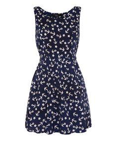 Blue & White Nautical Sleeveless Dress