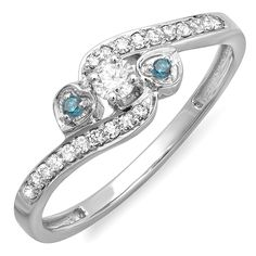 0.25 Carat (ctw) 18k White Gold Blue And White Diamond Bridal Promise Heart 3 Stone Swirl Ring 1/4 CT -- Special  product just for you. See it now! : Promise Rings Jewelry