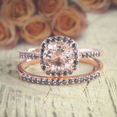 1.50 Carat Peach Pink Morganite and Black Diamond Engagement Bridal Wedding Ring Set 10k Rose Gold