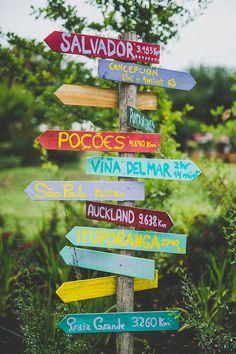 wedding signage. Colourful Chilean and Brazilian Backyard Wedding