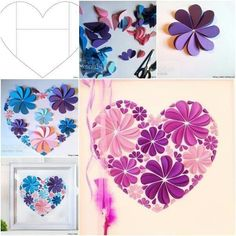 How to Make Easy Paper Heart Flower Wall Art! Really cute wall art! So unique way to make flowers! Made from paper heart! Paper Wall Art, Paper Flower Wall, Diy Wall Art, Paper Flowers, Flower Art, Diy 3d Bild, Diy Flowers, Flower Decorations, Wall Decorations